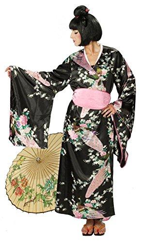 Perücke, Größe 42/44, Japanischer Kimono mit Geisha Girl Perücke, Erwachsenen Kostüm, Damen (Geisha Girl Perücke Halloween)