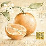 Leinwand-Bild - Claudia Ancilotti: Arancia 20 x 20 cm Orange Obst Früchte Landhaus Landleben