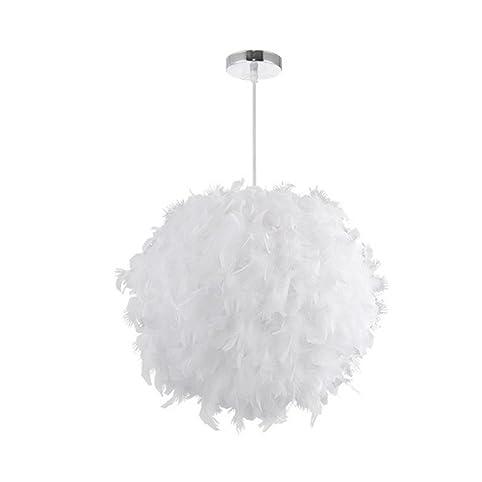 Weiß Federn Ball Kronleuchter Wohnzimmer Schlafzimmer Kinder Junge Mädchen  Schlafzimmer Dekoration Hall Persönlichkeit Mode Einfache Beleuchtung  (45cm): ...
