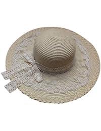 JTC Women's Panama Beach Hats Wide Brim Summer Sun Straw Hats Lace Caps 6 Colors