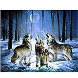 MagiDeal Juego de Pintura Cuadro Lobo Artes Bordado Mosaico Majo Hermoso Decoración 1