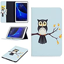 """Tab A6 10.1"""" fin Coque, Flip Cover pour Samsung Galaxy Tab A6 10.1"""" T580/T585 - Portefeuille Housse en cuir pour Samsung Galaxy Tab A6 10.1"""" SM-T580 T585 support de tablette Coque (Hibou)"""