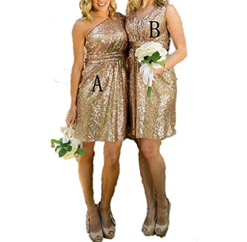 CoCogirls Glitzernd Rosen-Gold Brautjungfern kleider Ehrendame Festliche Kleider Hochzeit Party Kleid Ballkleid Abendkleid A