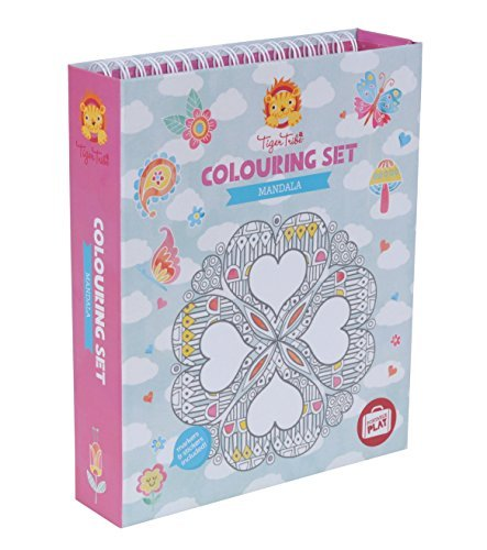 Tiger Tribes 3714008 Mandala Malbuch, Stifte und Sticker - Mandala Colouring Kit