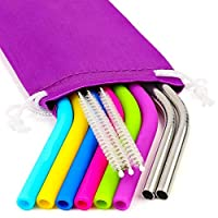REGULAR SIZE Silicone Straws for 20 and 30 oz Yeti/Rtic/Ozark Tumbler & Stainless Steel Straws Bundle - 6 Silicone Straws + 3 Brushes + 2 Metal Straws + 1 Storage Pouch - Reusable Straws Extra Long