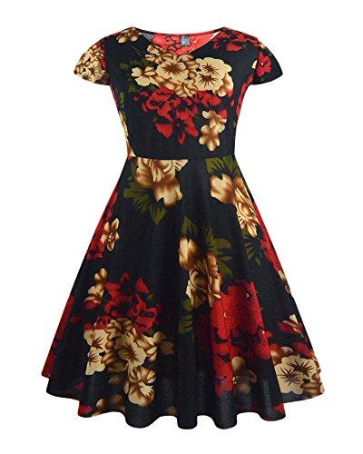 Femmes Pétale Manchon Manche Courte Rétro Col V Impression Soirée Dress Rouge