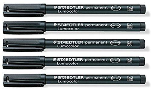 staedtler-lumocolor-black-medium-permanent-marker-pens-pack-of-5-waterproof-smudge-resistant-quick-d