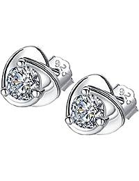 a72570a3afd6 Xuxuou 1PC Pendientes de Plata Pendiente Tachonado de Diamantes paraRegalo  para Amigas Madre Damas cumpleaños Navidad
