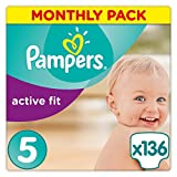 Pampers Premium Protection Active Fit Junior - Pañales, talla 5, 11-23 kg (136 unidades)