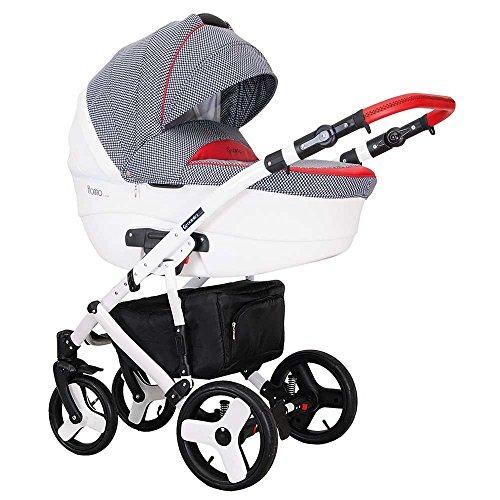 Kombikinderwagen 3 in 1 Babywanne Florino + Sportwagen + Schale in Blau-Rot