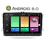Yingly 9 Zoll Android 8.0 Autoradio für VW Golf Passat Skoda Tiguan Seat mit DVD Player GPS Navi Radio Bluetooth Unterstützung DAB+ WIFI Parkkamera, Lenkradsteuerung 1080P Video (mit 8 GB Kartenkarte)