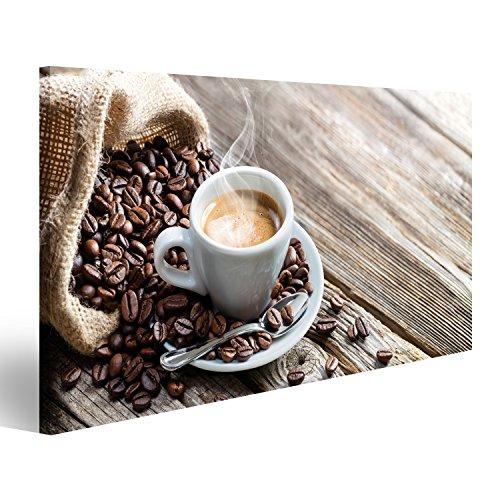 Bild Bilder auf Leinwand Espresso Kaffeetasse mit Bohnen auf Vintage Tisch Wandbild Leinwandbild Poster - Espresso Leinwand