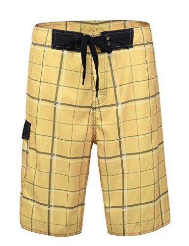 a43902f6064d Nonwe Herren Lattice gedruckt Casual Sport Shorts Beach Board Shorts mit  Futter Gelb