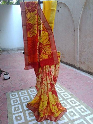 Sree sarees georgette floral print shaded saree
