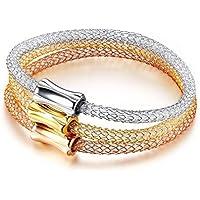 OMZBM Frauen Armband Kristall Hohe Qualität Edelstahl Hohlen Magnetische Schnalle Armband Schmuck Für Frauen Und Mädchen (3 Geladen)
