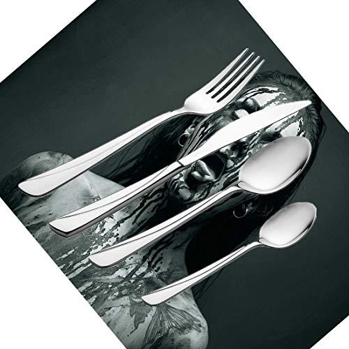 30-teiliges Besteckset, Zombie-Geschirr, Edelstahl-Besteck, Geschirrset für 6 Personen, einschließlich Messer, Gabeln, Löffel, Teelöffel und Platzdeckchen, ungewöhnlicher Scream Monster Woman-Look mit