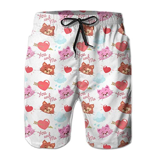 Jebnpse Kitty with Heart Swim Shorts Men's Swim Trunks Beach Shorts Board Shorts,Men's Beach Shorts Quick Dry Summer Surfing Trunks Surf Board Shorts Beach Pants with Pockets for Men X-Large - American Heart Baby T-shirt