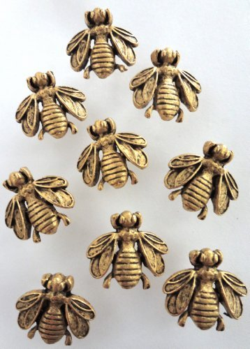 15 Antique Gold Bumble Bee Push Pins - Electroplate Finish -T-20AG by Norma Jean Designs