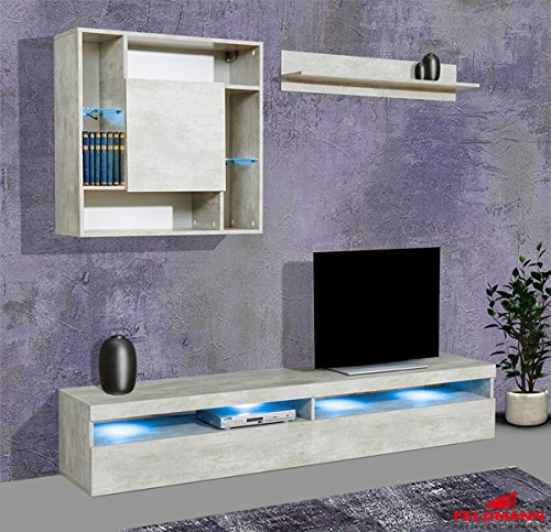 Wohnwand Anbauwand mit Lowboard 3-teilig 543687 betonfarben
