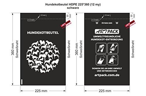 500 Stück (auch 100 oder 300 St.) ARTPACK HDPE Flachbeutel Hundekotbeutel schwarz mit Aufschrift 225 x 360 mm (12my) PE plastik beutel Tütchen