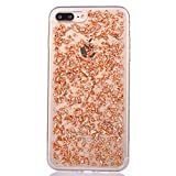 "iPhone 7Plus Coque Cover, MAOOY Luxe Dual Layer Paillette Feuille d'or Etui Bling Flash dans Doux TPU Silicone Cristal Transparent Protecteur pour 5.5"" Apple iPhone 7Plus(NON iPhone 7) - Champagne Or"