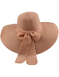 1332b0958dde5 Straw Floppy Sun Hat, Bowknot with Wide Brim Paper Weaved Foldable Beach  Sun Hats