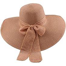 Sombrero de disquete Summer Beach Sombreros de paja de Sun Sombrero de  protección anti-UV 041a1a66db7c