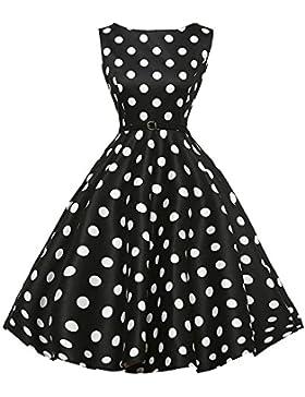 Vestito Elegante,Kword Abito a Ruota in Cotone Vestito Vintage Anni 50 A-Line Stile,Pieghe Abito Senza Maniche...