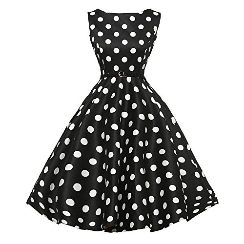 Damen Sommerkleider Frauen Dress Vintage Abendkleid Ärmelloses Skaterkleid A Line Swing Mini Kleid...