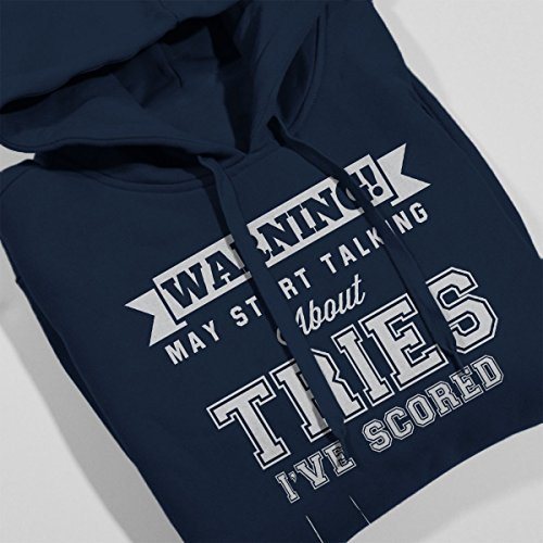 Rugby Warning May Start Talking About Tries Men's Hooded Sweatshirt Navy blue
