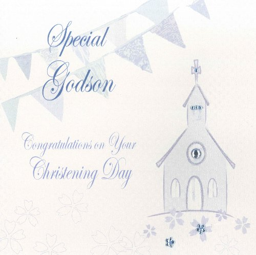 WHITE COTTON CARDS  ``Special Godson Congratulations On Your Christening Day`` Handmade Card, Blue