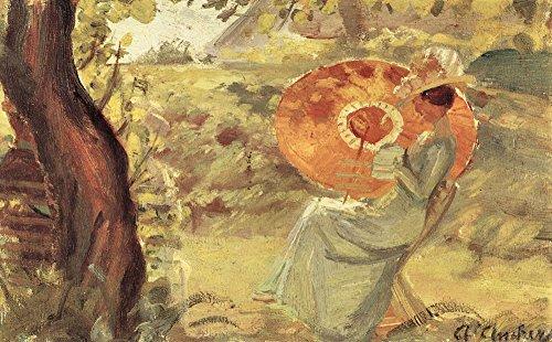 Das Museum Outlet-Young Girl in Garten mit Orange Regenschirm von Anna Ancher-A3Poster