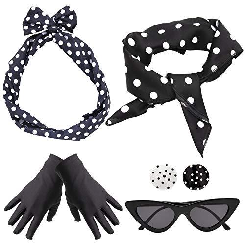 Yansion 50er Jahre Kostüm Accessoires Damen 1950s Zubehör Set Inklusive Polka Dots Bandana Haarband Ohrringe Handschuhe Katzenaugen Sonnenbrille Schal (Schwarz)