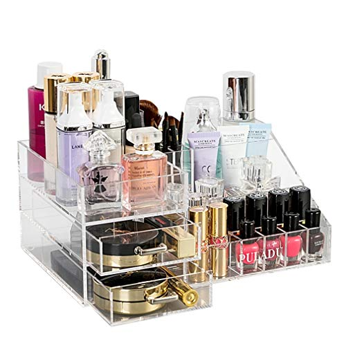 Acrylique Maquillage Organisateur de Maquillage Organisateur de Rangement Cosmétique Tiroirs Salle de Bains Compteur Organisateur Vanity Maquillage Table (Couleur : Clair)