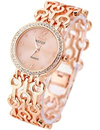Rcool Pulsera de la correa de moda reloj de pulsera de dial Redondo mujeres de la tabla de relojes (Oro Rosa A)