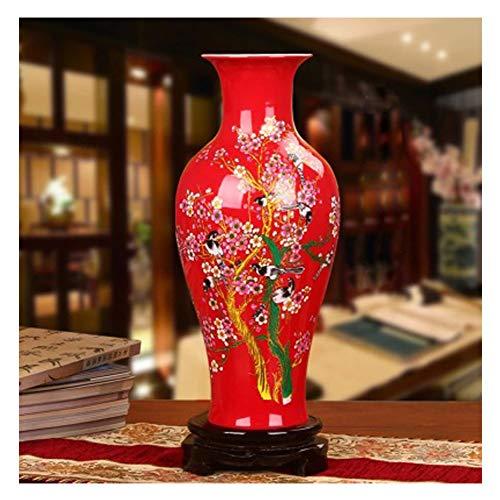 GSDQ Jingdezhen Keramik Chinesische rote Lotosblumen haben jedes Jahr viele Farbvasen. Heimtextilien Kunsthandwerk Ornamente Kaufen Sie eins erhalten Sie kostenlos