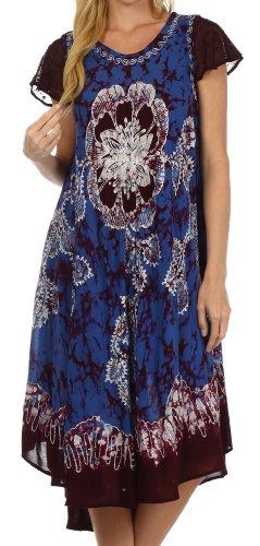 Sakkas 161 Aloha Floral Kaftan Kleid - Aubergine / Blau - One Size (Krepp Batik)