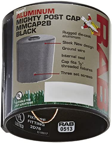 RAB Lighting MMCAP2B Mighty Post Metal Caps and Box for 2 Pipe, Aluminum, 2-3/8 OD x 2-3/4 Height, Black by RAB