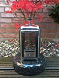 Stone & More Grablaterne aus Edelstahl- Kreuz inklusive Granitsockel Impala 19cm x 19cm x 5cm Friedhofslicht Grablampe aus Edelstahl Grablicht mit Sockel Impala