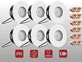 Ultra flacher Bad Einbaustrahler Aqua 2.0 Weiss Matt IP65 LED Modul 5Watt Warmweiss 35mm Einbautiefe 230V 2700Kelvin 6er Set WAGO 221-413 Badezimmer Dusche Vordach Keller Garage Strahlwassergeschützt