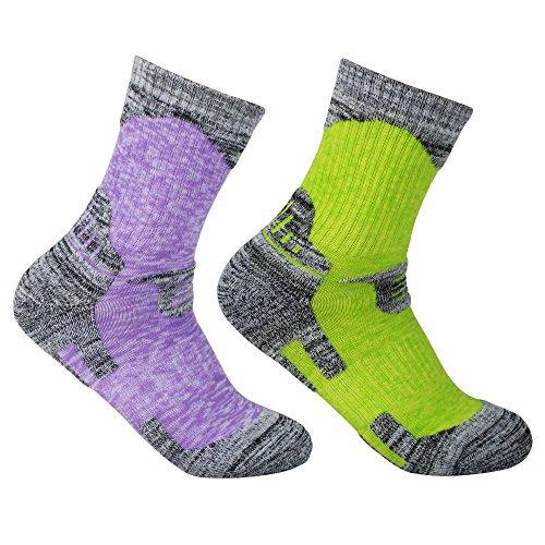 YUEDGE Donna 2Pack multifunzione esterno calzini sportivi, alpinismo escursionismo Jogging sudore traspirante cotone calze, Lila&Grün, L(Women Shoe 37.5-41.5 EUR Size)