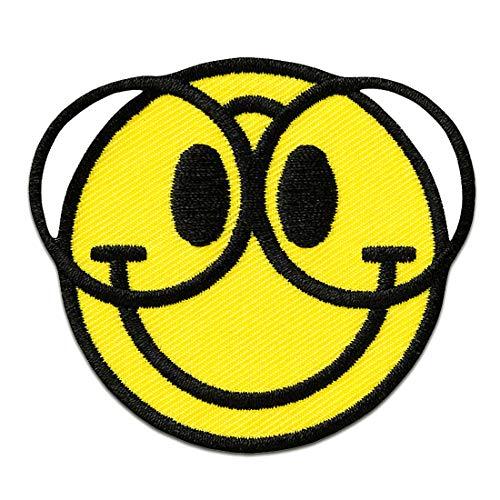 Aufnäher/Bügelbild - Smiley mit Brille - gelb - Ø5,5cm - Patch Aufbügler Applikationen zum aufbügeln Applikation Patches Flicken