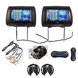 EinCar TDD998-BK Paar 9 Schwarz-Auto-DVD / USB-Kopfstütze Monitore Video Entertainment System + 2 Funkheadsets