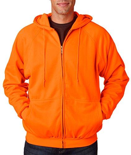 UltraClub Erwachsene thermal-lined Full Zip Hooded Fleece, Bright Orange - orange - XX-Large Lined Hooded Full Zip Sweatshirt