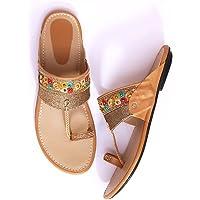 Ladies Hub Kolhapuri Chappal for Women Stylish, Flat Fashion Sandals & Ethnic Slippers for Girls