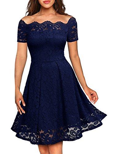 Miusol Damen Vintage 1950er Off Schulter Cocktailkleid Kurzarm Retro Spitzen Schwingen Pinup Rockabilly Kleid Dunkelblau Gr.L