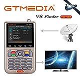 """GT MEDIA V8 Sat Finder Meter Rilevatore di Segnale Parabola Satellitare Digitale HD Localizzatore DVB-S/S2/S2X 3.5"""" LCD Display per Un Posizionamento ottimale Batteria 3000mAh"""