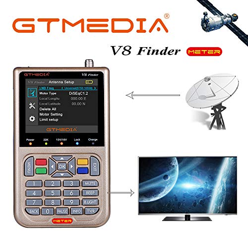 "GT Media V8 Sat Finder Meter Digital HD Satellitenfinder Sat Messgeräte mit Satellitenerkennung DVB-S/S2/S2X zur exakten Justierung Ihrer Sat Antenne 3,5""LCD Display Akku-3000mAh"