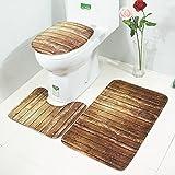 Artistic9, 3-teilig Badteppich-Set, Rutschfest, Simulation Badezimmer Küche Teppich Teppich Doormats, aus Holz