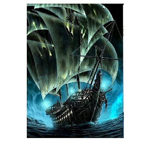 Ölfarbe Malen Nach Zahlen DIY Rahmenlose Segelboot Karibik Schiff Mosaik Dekor Homeacryl Farbe Auf Leinwand Modern Für Home Arts 40x50cm - Schiffe Dekor
